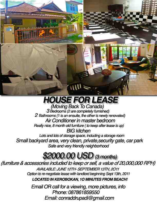 Cheap cheap bali house for rent 10 mins from beach for Ad house