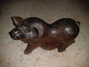 Wood pig statue