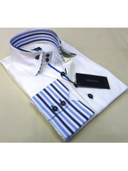 Bellino Light lilac business shirt with striped cuffs