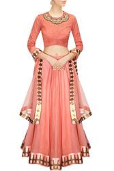 Buy Coral Color Bridal Lehenga Choli Online