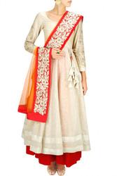 Buy White and Orange Anarkali Lehenga Online