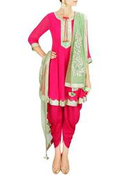 Shop Online for Pink Anarkali Dhoti Salwar Kameez