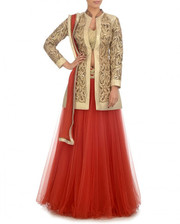 Buy Red Color Long Jacket Lehenga Choli Online