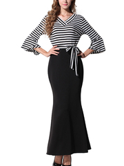 Women's V Neck Flare Sleeve Striped Spliced Trumpet Dress