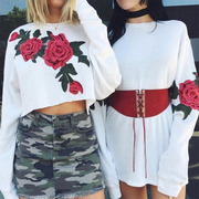 Women Vintage Embroidery Flower Long Sleeve Tee Loose Crop Top Blouse