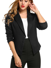 Women's Long Sleeve Solid Casual Work Office Slim One Button Blazer