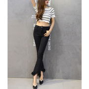 Vintage High Waisted Skinny Jeans Women Fringed Ripped Jeans