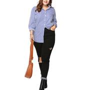 Women Loose Striped Blouse Irregular Hem Oversized Long Sleeve Shirt