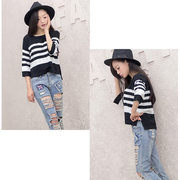 Women Pullover Knitted Sweater O-neck Striped Half Sleeve T Shirt