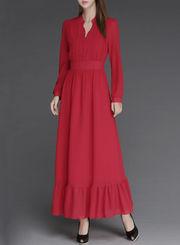 Women's Solid Button Up High Waist Dress Chiffon Maxi Dress