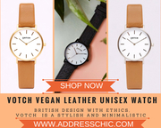 British design with ethics,  Votch vegan leather unisex watch
