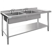 Vogue Stainless Steel Double Bowl Sink Right Hand Drainer 1800mm