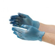 Vogue Vinyl Food Prep Gloves Blue Powder Free Small (Pack of 100)