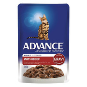 Buy Advance Adult Cat Beef in Gravy Wet Food Pouch for Cats Online in