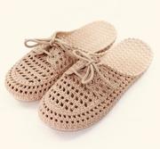 Brown Colour Shoelace And Hollow Out The Top Slippers 40
