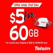 Enjoy 60GB DATA @ just $5! Get your Telsim sim card now!