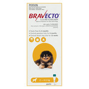 Buy Bravecto Spot On For X-Small Dogs 2-4.5 Kg Yellow
