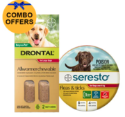 Buy Seresto Collar + Drontal Allwormer for Dogs over 8kg |Pets Flea