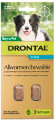 Buy Drontal Wormers Chewables for Dogs Upto 10kg Aqua Pack |Pet Worm