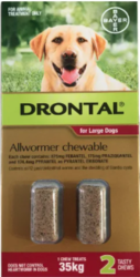 Buy Drontal Wormers Chewables for Dogs Upto 35kg Red Pack |Pet Worm