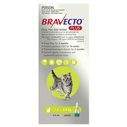 Buy Bravecto Plus for Small Cats 1.2 to 2.8kg Green|Flea,  Ticks,  Worms